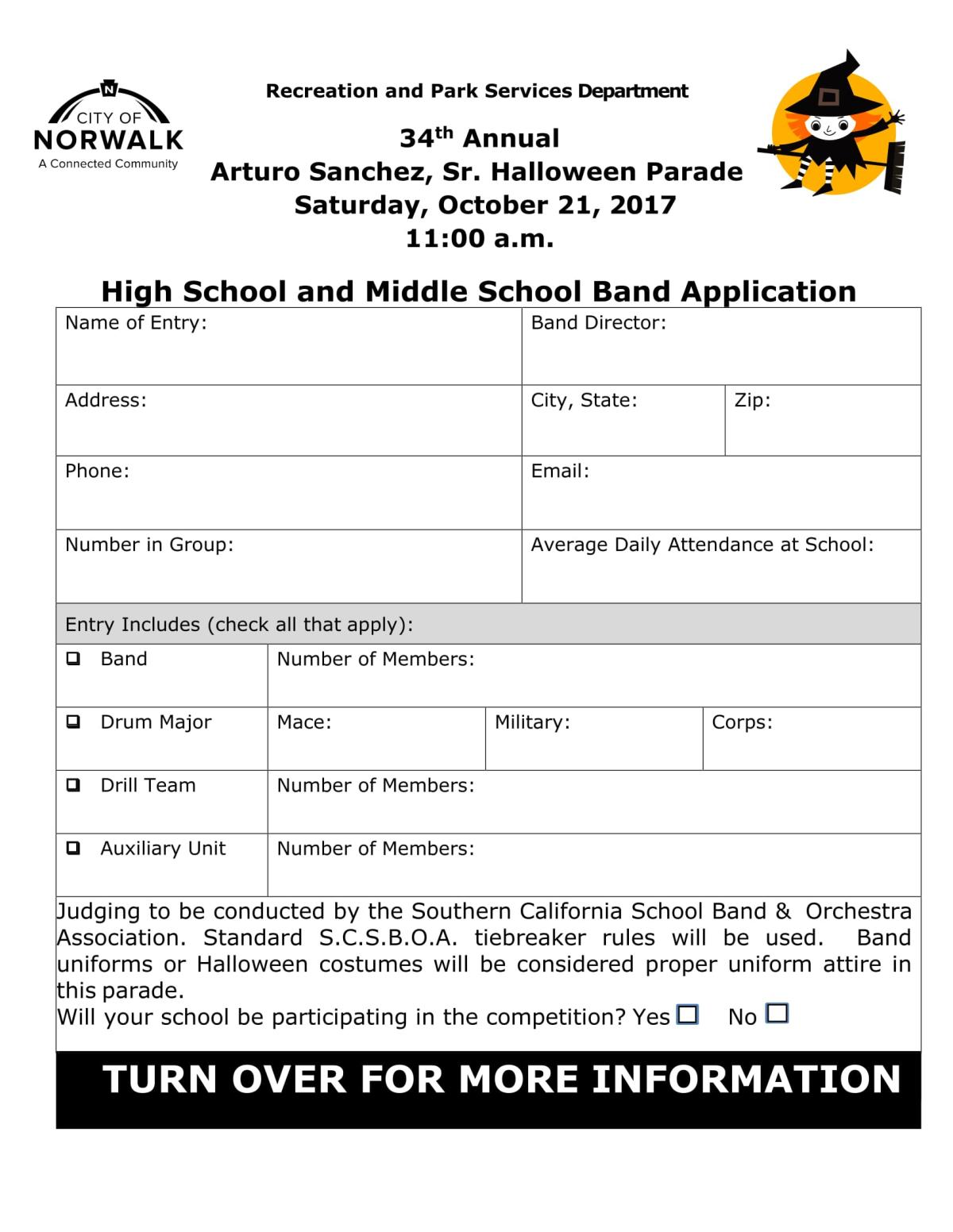 2017Halloween Parade Band Application FRONT
