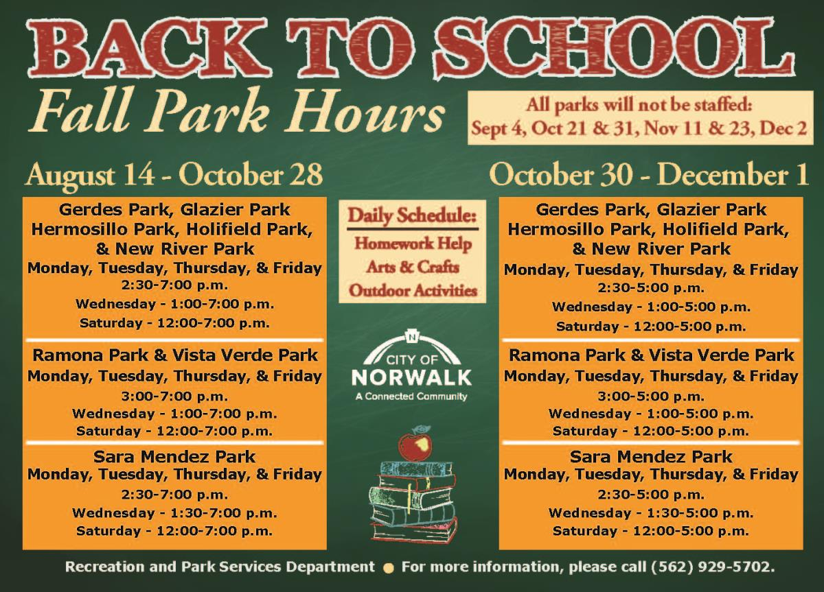 Fall Park Hours Flyer