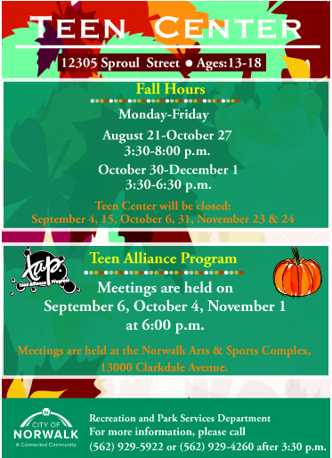 Teen Center Fall Flyer 2017 FRONT Revised