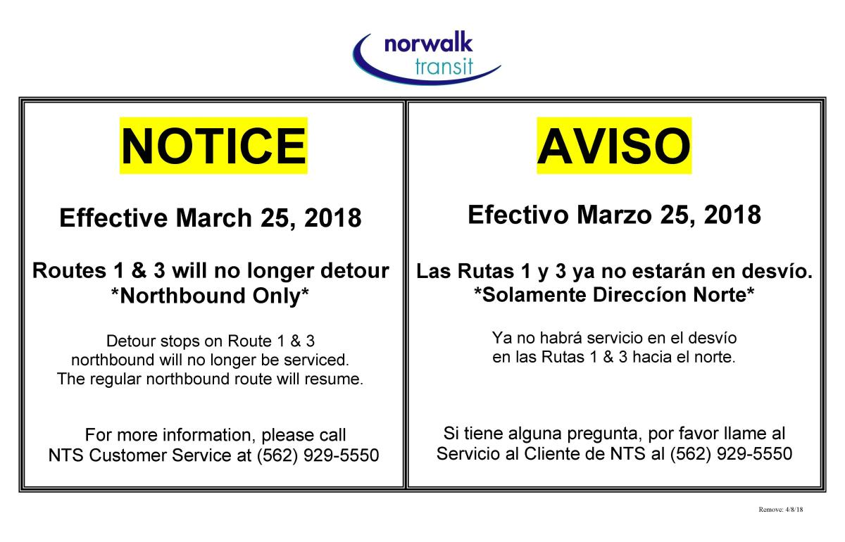 Rt 1 and 3 Detour update 3-9-18