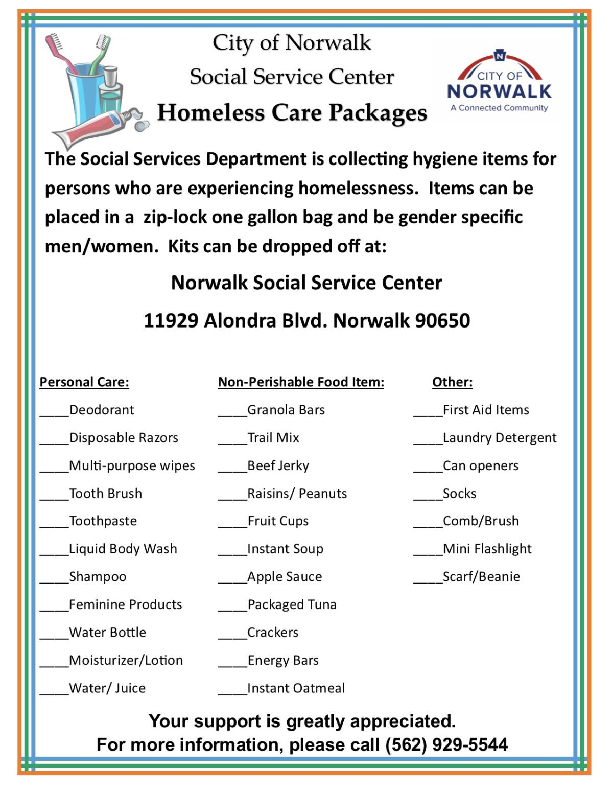 Homeless care package flier