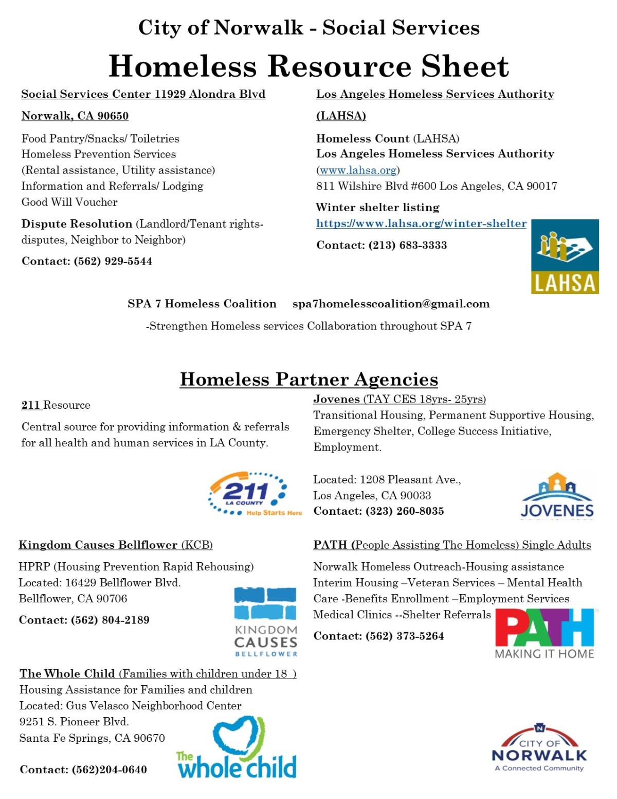 Homeless Resource Sheet 9-18