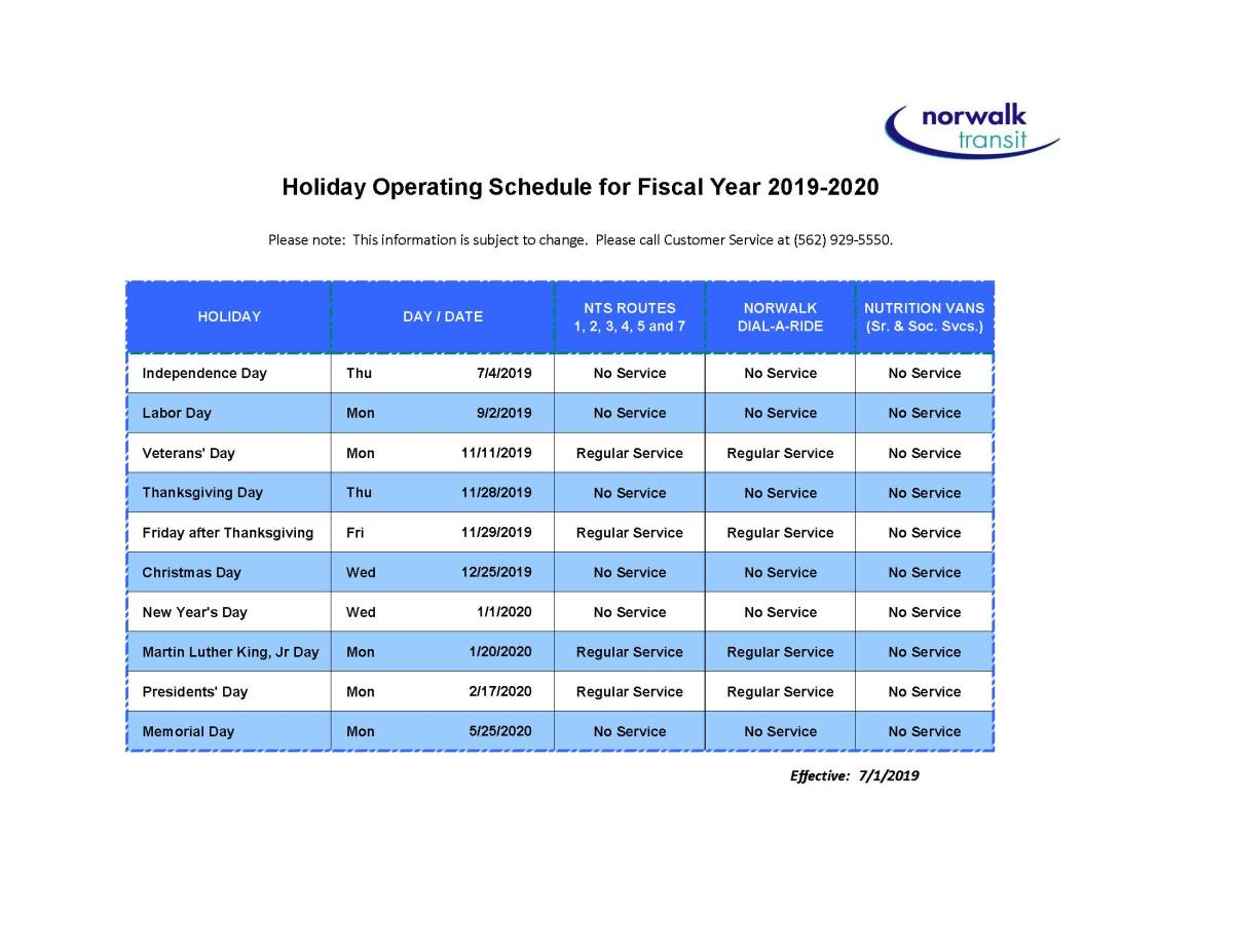 Holiday Schedule | City of Norwalk, CA