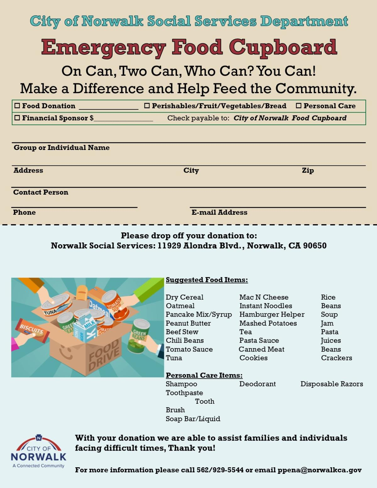 Emergency Food Cupboard Flier 12-23-18